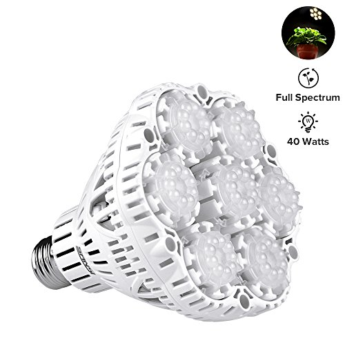 40W Daylight LED Plant Light Bulb Full Spectrum Ceramic LED Grow Light Bulb, E26 Plant Bulb Sunlight White Grow Light for Indoor Garden Farming Greenhouse Grow Walls, UV&IR, 90-132V