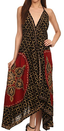 Sakkas 1456 - Shana Batik Embroidered Handkerchief Hem Adjustable Halter Dress - Red / Black - OS