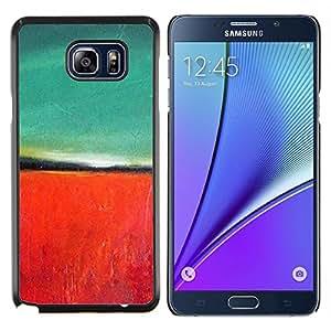 KLONGSHOP // Cubierta de piel con cierre a presión Shell trasero duro de goma Protección Caso - Pintura roja del trullo Naturaleza Otoño - Samsung Galaxy Note 5 5th N9200 //