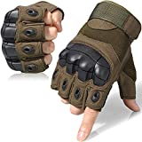 JIUSY Tactical Gloves Military Fingerless Hard Rubber Knuckle Half Finger Gloves