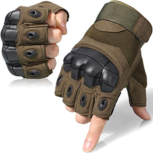 WTACTFUL Tactical Gloves Military Fingerless Hard Rubber Knuckle Half Finger for Army Gear Sports Driving Shooting Paintball Riding Motorcycle Hunting Gloves Size X-Large Green