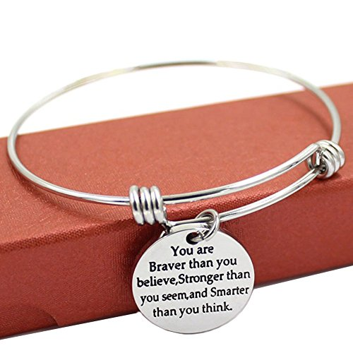 Motivational Words Message Bracelet You Are Braver Than You Believe Inspirational Quote Adjustable Wire Bangle for Boys Girls Aloy