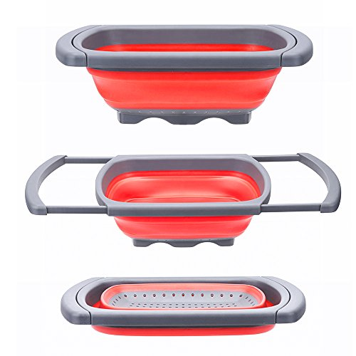 Collapsible Strainer - Glotoch Kitchen Collapsible Colander, Over The Sink Strainer With Steady Base For Standing, 6-quart Capacity, Dishwasher-Safe,BPA Free (Red&Grey)