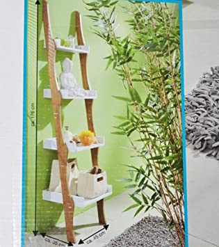 Badezimmer leiter  Regal Leiter Organic Bambusoptik Badezimmer Wohnzimmer ...