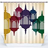 Durable Shower Curtain,Lantern,Antique Colorful Arabian Lantern Hanging in Sky Traditional Art Design Decorative,Purple Red Yellow Green,Polyester Shower Curtains Bathroom Decor Set with Hooks