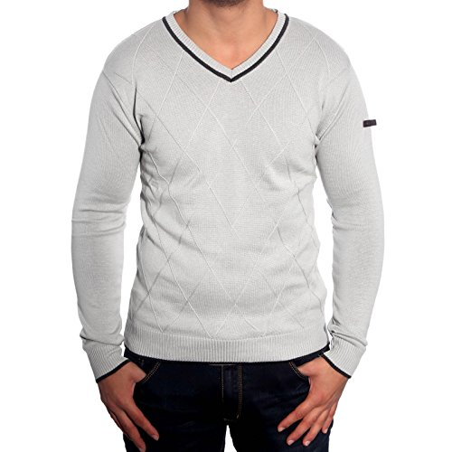 R-Neal RN-3151 Herren Pullover V-Neck Kontrast Pulli Sweatshirt Jacke Hoodie Neu, Größe:XL, Farbe:Grau