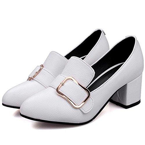 COOLCEPT Damen Vintage Buckle Brogues Shoes Blockabsatz Formal Work Pumps White
