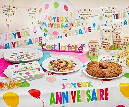Mantel plástico rectángulo feliz cumpleaños, multicolor ...