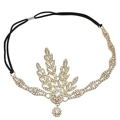 Litluxe 1920s Gatsby Wedding Crystal Imitation Pearl Leaf Headband