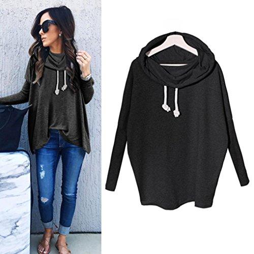 Women Blouse,IEason Women Sweatshirt Bow Neck Long Sleeve Pullovers Tops Blouse (M, Black)