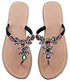 Summer Rhinestone Sandals Shoes,Flat Flip Flops Shoes,Gem Beach Wedding Black Size 11