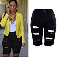 OWMEOT Womens High Waist Ripped Hole Washed Distressed Short Jeans