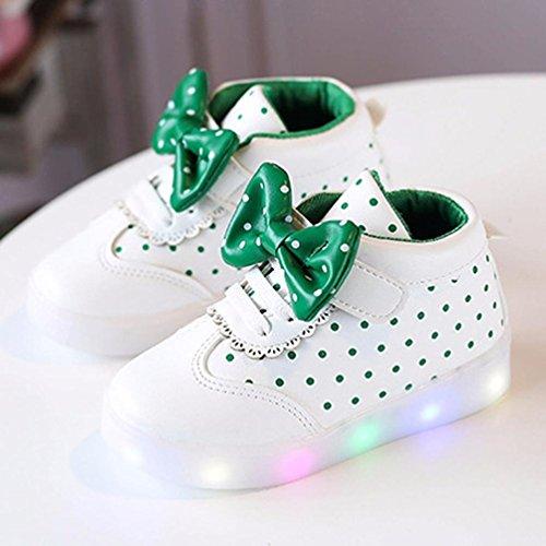 Sunnyoyo 1-4 Jahre alt Kinder Kinder Jungen Mädchen Bowknot Dot LED Leuchten Leucht Turnschuhe Schuhe Weiß