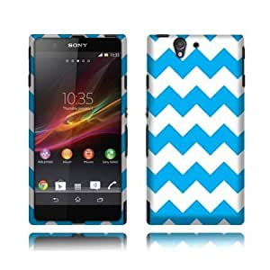NextKin Hard Shell Protective Snap-On Case Cover For Sony Xperia Z C6603 Yuga C6606, Light Blue/ White Chevron...