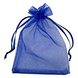 MELUOGE 100pcs 5X7 Inches Organza Drawstring Jewelry Pouches Bags Party Wedding Favor Gift Bags Candy Bags (Royal Blue)