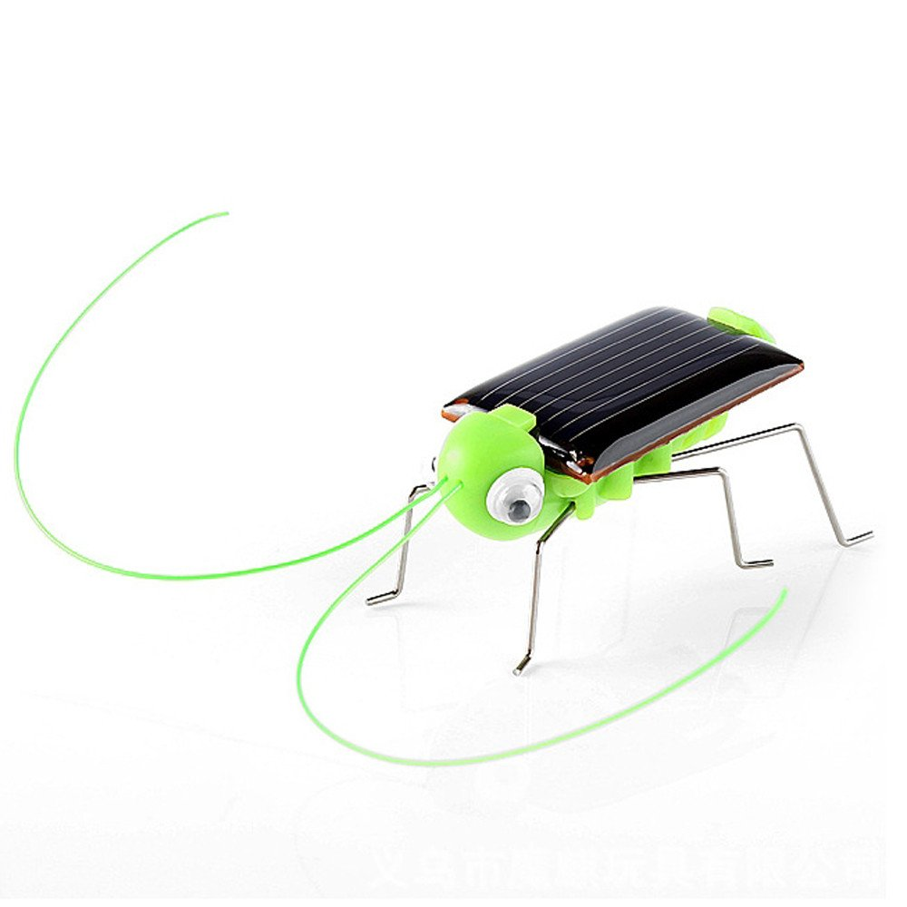 Educational Solar Powered Grasshopper Robot Toy Solar Powered Toy Gadget Gift (Green, A)