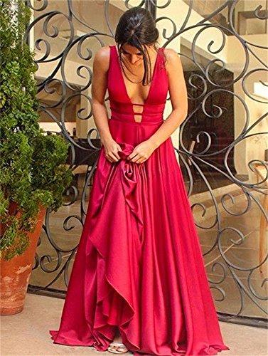 Vestito Convenzionale Più Sexy Sera Dimensioni V Backless Lungo Donne Il Drehouse Matrimonio Rosso collo Da Per Delle HqfzwfnCd
