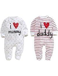Unisex-Baby Newborn I Love Mummy I Love Daddy Bodysuit 2 Pack