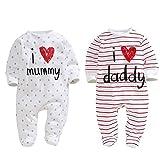 Unisex-Baby Newborn I Love Mummy I Love Daddy Cotton Footed Romper Bodysuit 2 Pack (3 months)