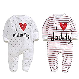 AOMOMO Unisex-Baby Newborn Footie I Love Mummy I Love Daddy Bodysuit 2 Pack (3 Month)