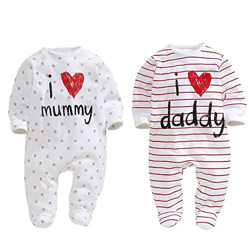 AOMOMO Unisex-Baby Newborn Twins I Love Mummy I Love Daddy Bodysuit Twins 2 Pack (3 Month) White