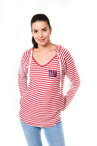 Icer Brands NFL New York Giants Women's V-Neck Hoodie Pulllover Sweatshirt Stripe, X-Large, Red