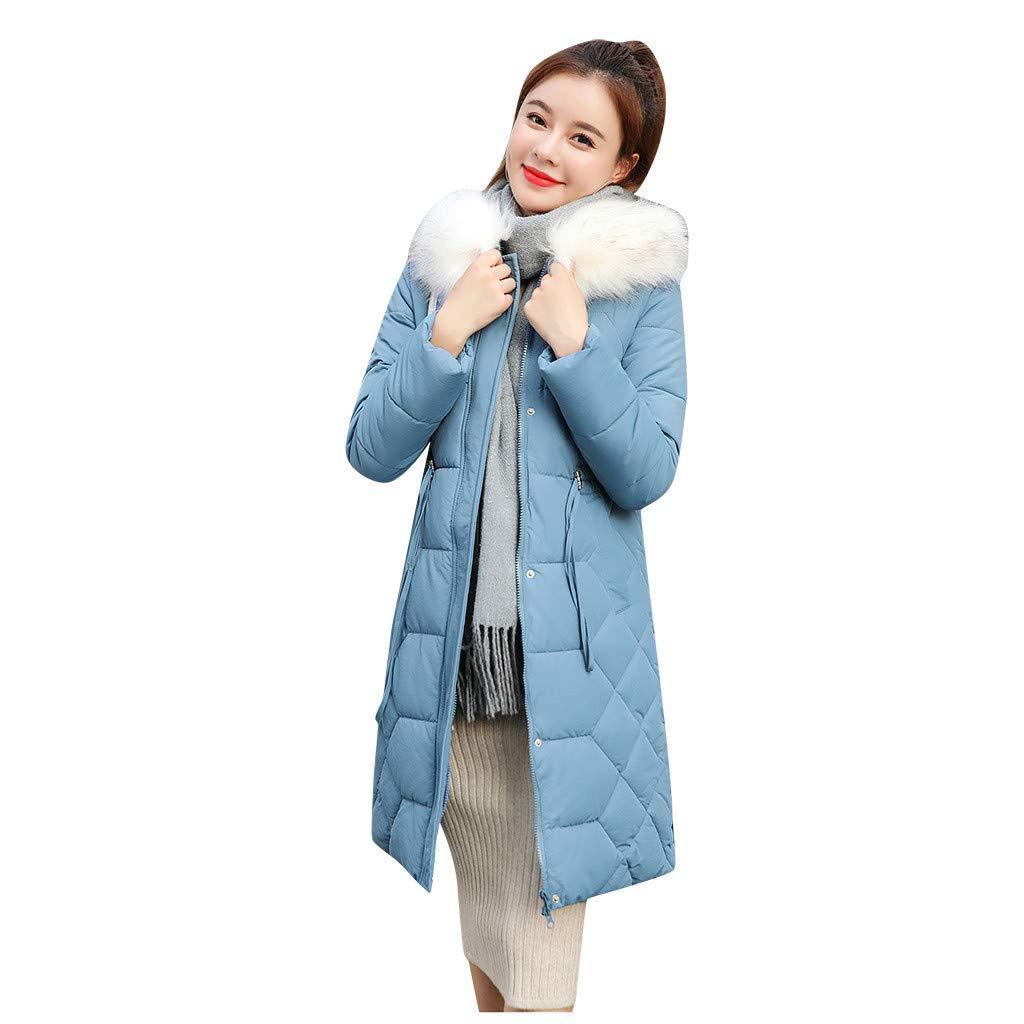 HCFKJ Women Tops Winter Warm Hat Thick Faux Fur Warm Slim Jacket Long Coat(Blue,L) by HCFKJ