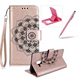 Rope Leather Case for Samsung Galaxy A8 2018,Strap Wallet Case for Samsung Galaxy A8 2018,Herzzer Bookstyle Classic Elegant Mandala Flower Pattern Stand Magnetic Smart Leather Case with Soft Inner for Samsung Galaxy A8 2018 + 1 x Free Pink Cellphone Kickstand + 1 x Free Pink Stylus Pen - Rose Gold