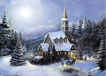 Large Festive Church Winter Christmas Snow Scene Light up LED ...