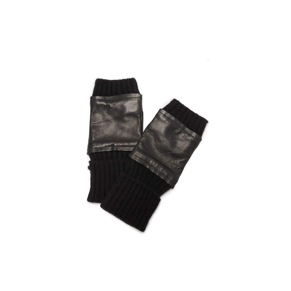 (キャロライナアマート) Carolina Amato レディース 手袋グローブ Fingerless Knit & Leather Gloves [並行輸入品] B077ZVXGVT Medium / Large