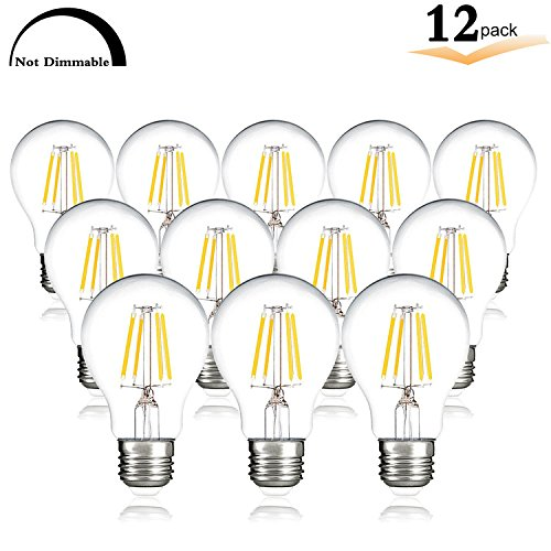 A19 LED Vintage Filament Bulb,Not Dimmable, 4W (40W incandescent Equivalent), 4000K (Natural White Glow), E26 Medium Base, CRI 85+, 120V 420 Lumen Globe Lights for Patio, Shopping malls,Pool (12 - Industry Shopping Mall