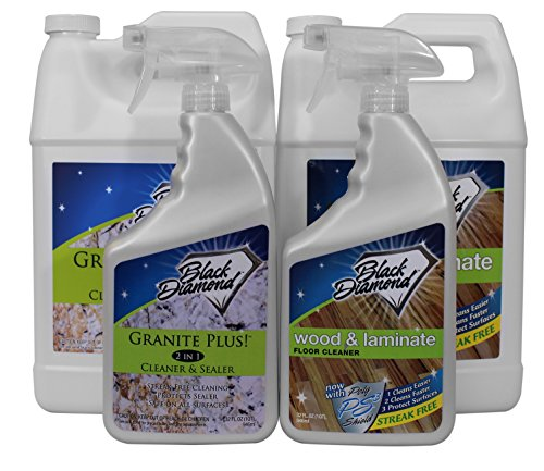 Granite Plus Cleaner & Sealer for stone. Wood & Laminate Floor Cleaner: For Hardwood, Real, Natural & Engineered Flooring –Biodegradable Safe for Cleaning All Floors (1, 2-Quarts+2-Gallons) (Urethane Floor Sealer)