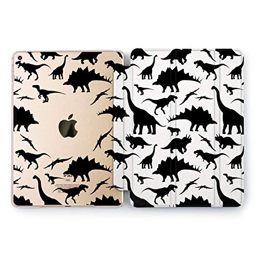 Wonder Wild Cute Dinosaurs Giant iPad Pro Case 9.7 11 inch Mini 1 2 3 4 Air 2 10.5 12.9 2018 2017 Design 5th 6th Gen Clear Smart Hard Cover Brontosaurus Tyrannosaurus Raptor Animals Geological New -