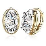 FENDINA Women's Oval Shape Leverback Hoop Earrings 18K Champaign Gold Plated Huggie Cubic Zirconia Earrings