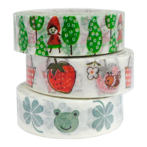 SEAL-DO Little Red and Lucky Green - Washi Tape - Made in Japan - Set of 3