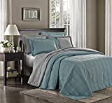 Chezmoi Collection Kingston 3-piece Oversized Bedspread Coverlet Set (King, Blue)