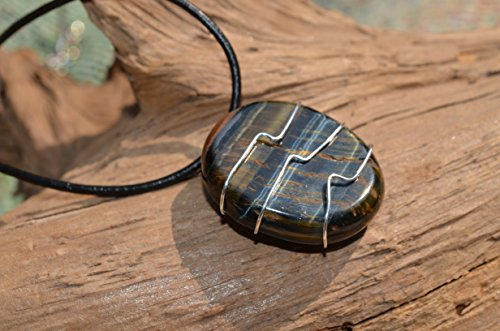 Blue Tiger's Eye Stone on a Leather Thong Necklace