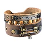 Holy Land Bracelet with Olive Wood Beads, Jordan River Holy Water and Jerusalem Earth (Men size: 7.5 - 8.5 Inches)