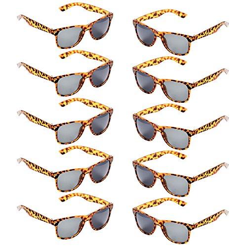 Oaonnea 10 Packs Neon Colors Party Favors 80's Retro Unisex Sunglasses,UV Protection (Leopard) ()