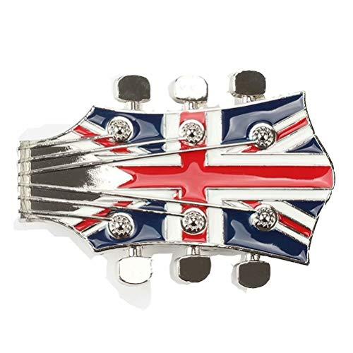 Belt Buckle Western The Union Jack Guitar Style Belt Buckle for Mens Womens
