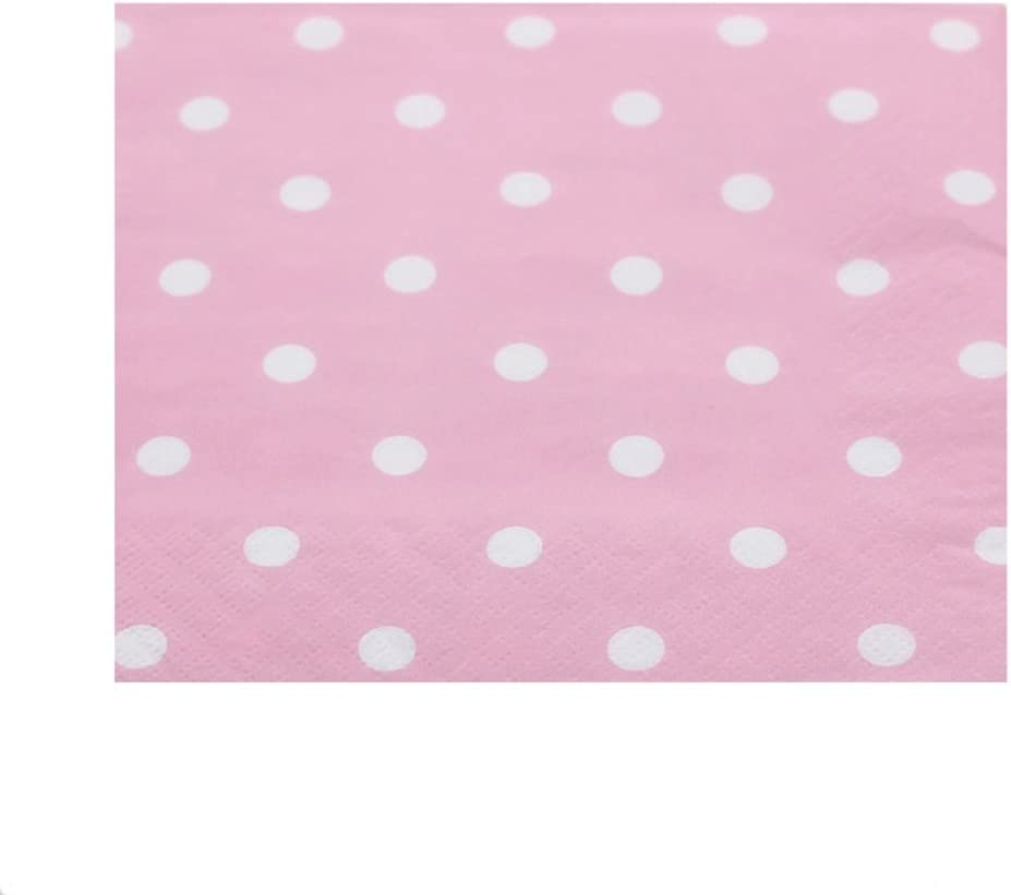 Youmewell Disposable Paper Beverage Napkins Pink Polka Dot 60 Count