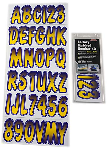 Yellow Decal Set - Hardline Products Series 200 Factory Matched 3-Inch Boat & PWC Registration Number Kit, Yellow/Purple