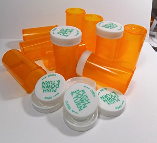 Plastic Prescription Vials/Bottles 50 Pack w/Caps Larger 13 Dram - Vial Pill