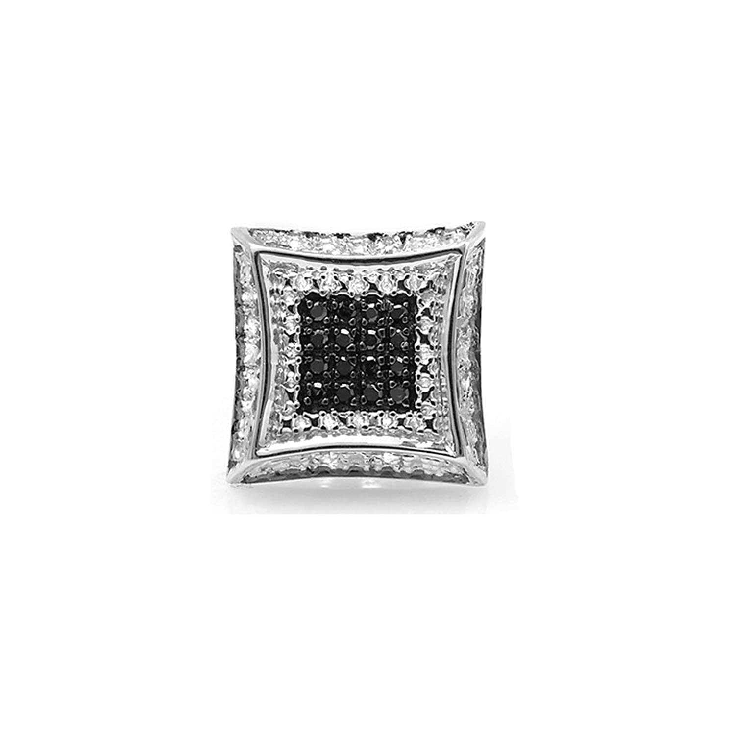 0.08 Carat (ctw) Round White & Black Diamond Micro Pave Setting Kite Shape Stud Earring (Only 1pc)