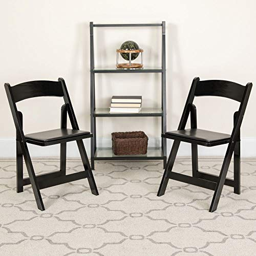 Flash Furniture 4 Pk. HERCULES Series Black Wood Folding Chair with Vinyl Padded Seat