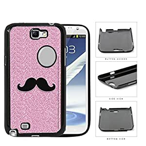 Pink Glitter Mustache Trend Hard Plastic Snap On Cell Phone Case Samsung Galaxy Note 2 II N7100