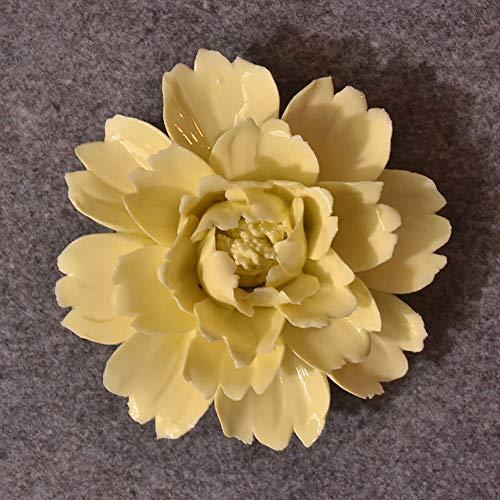 ALYCASO Handmade Decorative Ceramic Flowers 3D Wall Decor Hanging Room Decoration Art Peony Yellow 4.7in