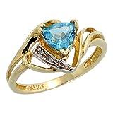 10k Gold Diamond Natural Blue Topaz Ring Trillium Cut 6mm December Birthstone 1/2 inch wide, size 8