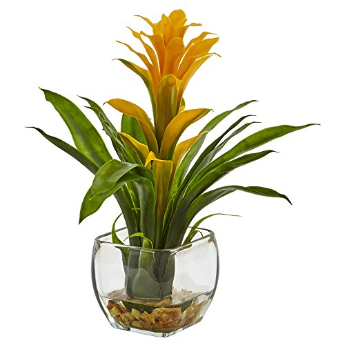 Nearly Natural 6897-YL Bromeliad with Glass Vase Arrangement, P