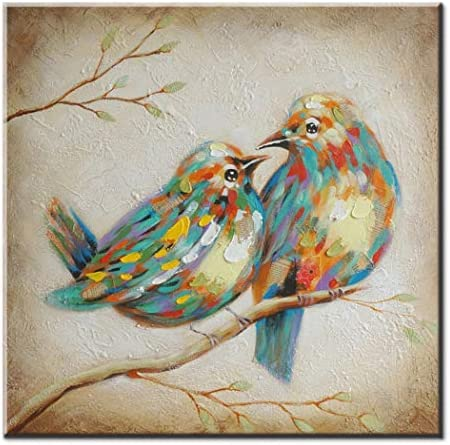 FLY SPRAY Oil Paintings Canvas Wall Art Cute Lovely Birds Animal Painting Framed 100 Hand Painted Abstract Decorative Artwork for Living Room Children Baby s Bedroom Office Home Decor